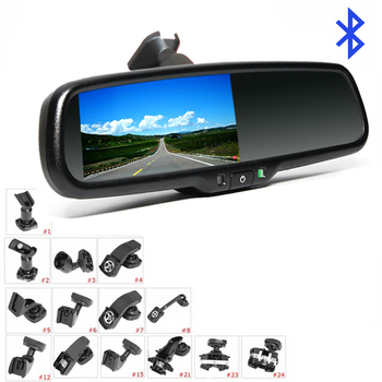 4.3 Inch Monitor FM Transmitter Bluetooth Car Rear View Mirror