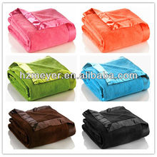 2014 Hot 100% Polyester Royal Luxury Style Soild Polar Fleece Queen King Size Throw Satin Adults Blanket