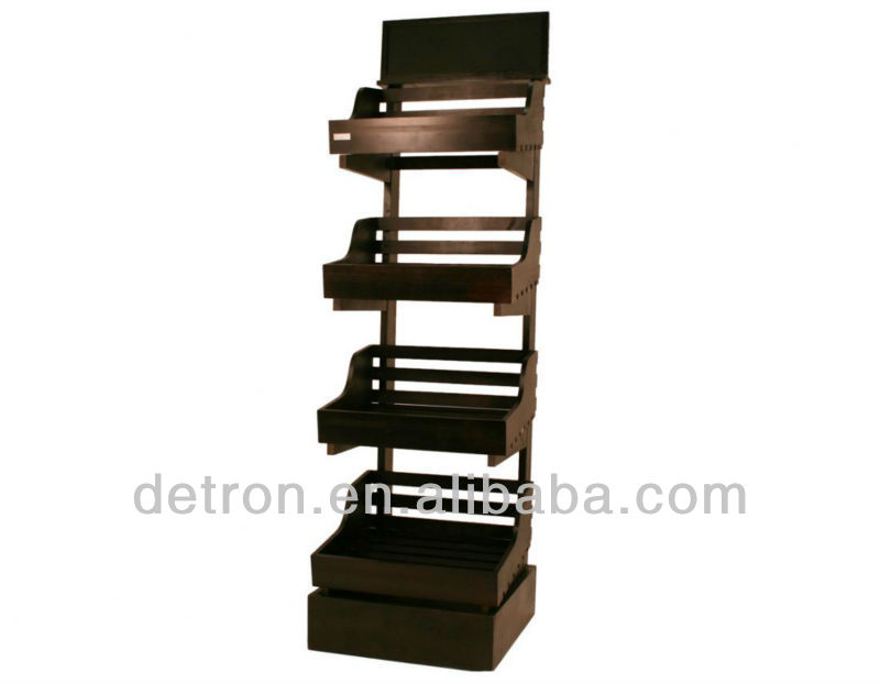 4 tier floor paper wood fruit display stand with picture