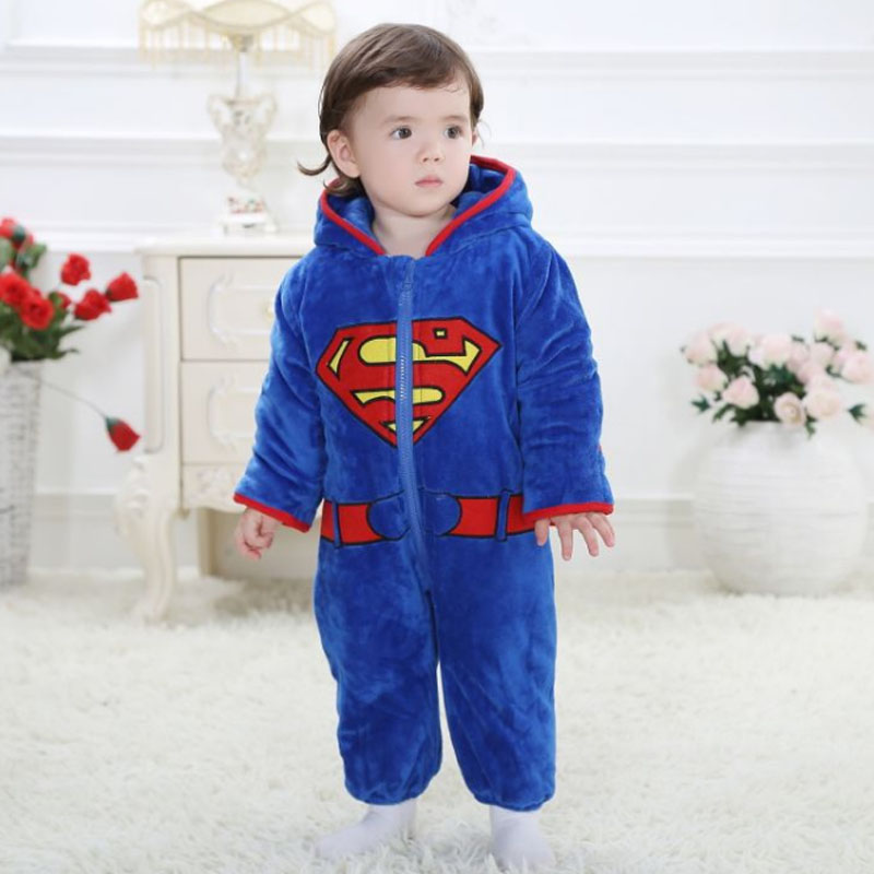 TC2008 Fashion Model of superman baby clothes baby rompers winter thicken baby rompers