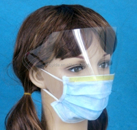 3PLY non-woven 29.5x12cm earloop or tie-on anti fog dental plastic face mask with plastic face shield