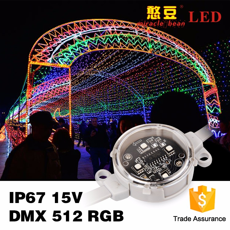 programmable dmx512 DC15V waterproof for outdoor decorate 3535smd led pixel poi