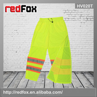 fluorescent yellow waterproof safety pants with side zipper