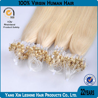 hot selling best quality doble drawn good feedback wholesale Brazilian remy virgin micro loop ring hair extension