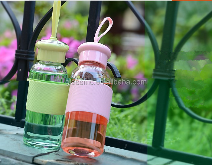 portable 350ml glass drinking jar/sports glass jar with string