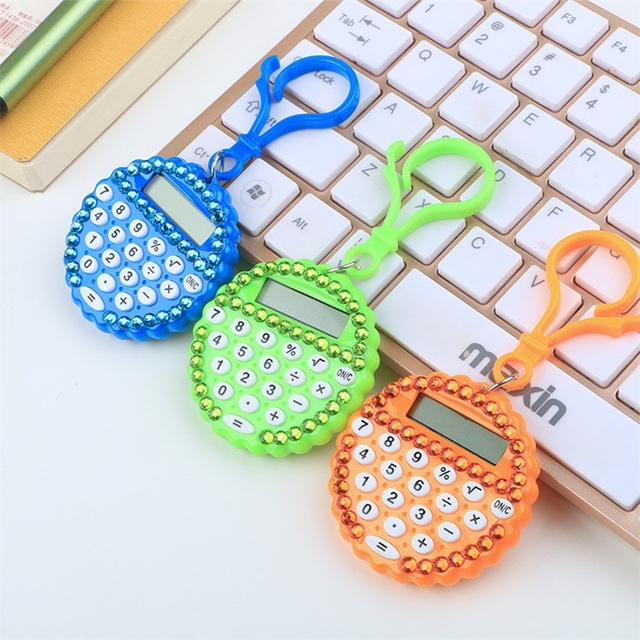 School Supplies Mini Portable Hook Type Spot Drilling Round Plastic Calculator