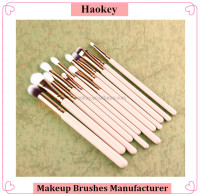 12pcs Rose Gold Cosmetic natural brush set eyeshadow makeup kit