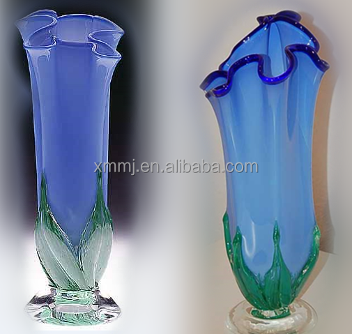 China Zibo hand blown art craft cylinder tall blue glass vases