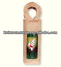 bottle jute wine tote bag