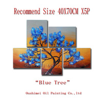Top Artist Hand-painted High Quality Abstract Tree Oil Painting On Canvas Blue Leaves Tree Oil Painting For Living Room