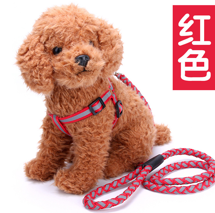 round rope knit ribbon pet accessories dog in harness reflect light dog leash