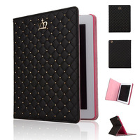 Bling Crown Folio Flip Leather Case Cover for iPad Air 2 with Auto Wake/Sleep Function
