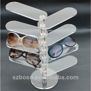 Clear move fashion design acrylic rotating glasses display stand with glasses display stand for sale