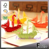 Handmade card 3D sailing boat paper card laser greeting and gift cards pop up universal fashion gifts