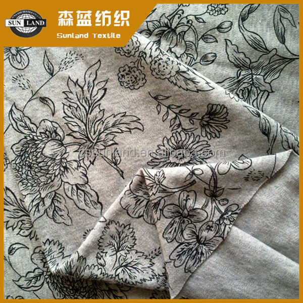 printed 100% marls grey cotton jersey knit fabric