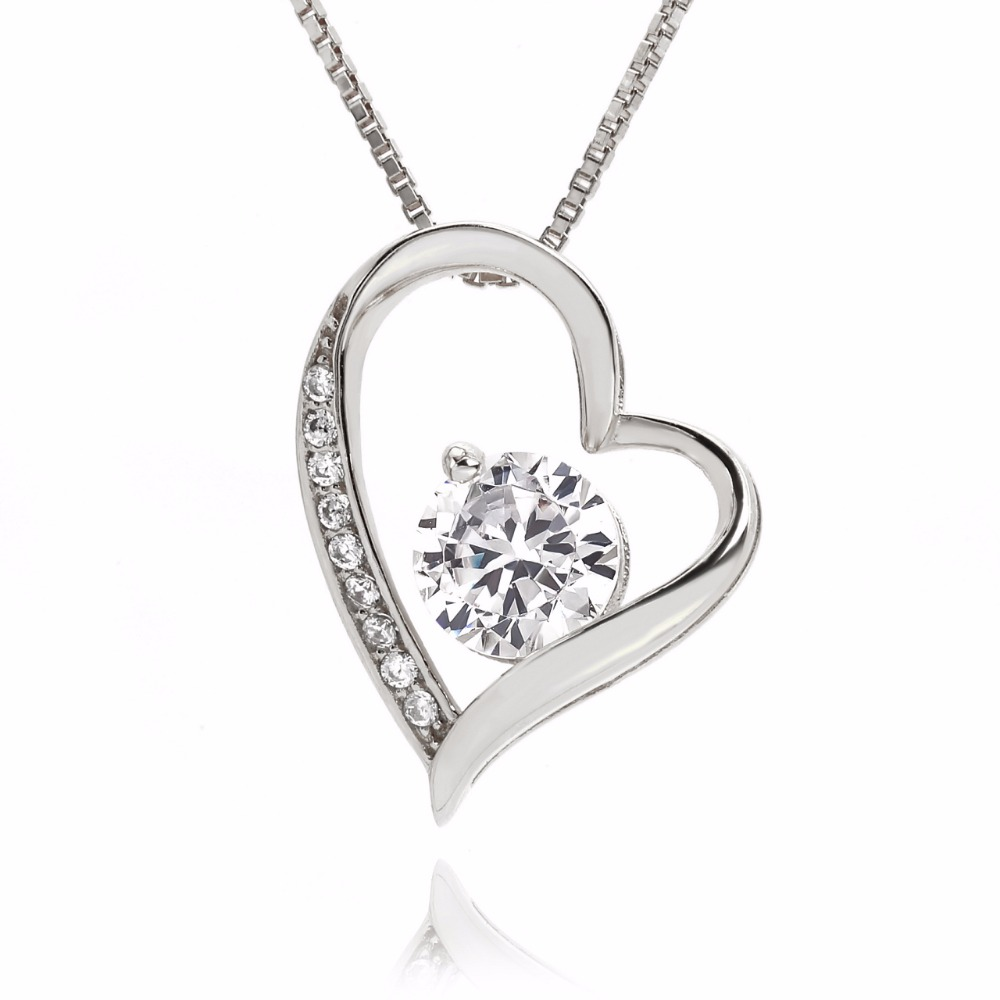 Cubic zirconia cute design heart shape necklace for gift silver