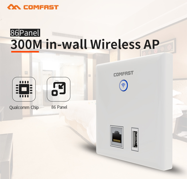 COMFAST CF-E536N Factory Price Remote Wifi Ultrasonic Transceiver 300mbps In Wall Wifi AP POE
