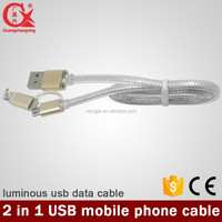 White color with braided weaving 2 in 1 with LED light coaxial usb flat cable