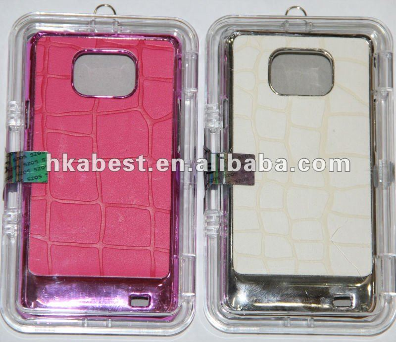 metallic back cover with leather skin for Samsung Galaxy s2 i9100