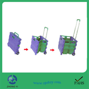 6 rolling portable folding plastic pull outdoor rolling trolley cart