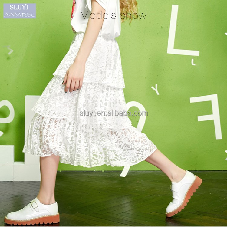 new design children's skirt sweet style multi Layered wholesale black white lace sexy skirts women long lady skirt