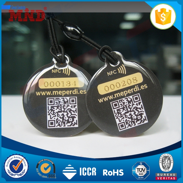 MDT117 epoxy ntag203 nfc pet tag with different qr code