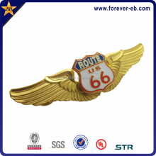 gold plated 3d eagle wings shape imitation hard enamel badge