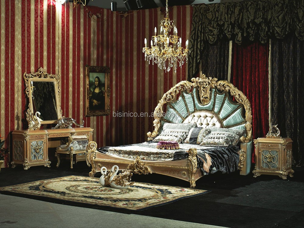 style bedroom set solid wood hand carved bed luxury gold inlaid bed