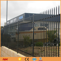 2.4X2.1m Black Powder Coated Steel Security Fence Panel
