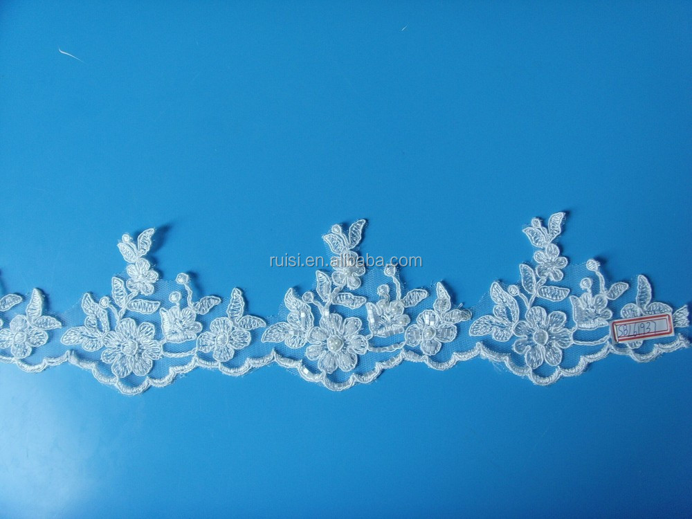 Black Lace Trim/ Cord Lace Trims/ Guipure Lace Triming With Pearls