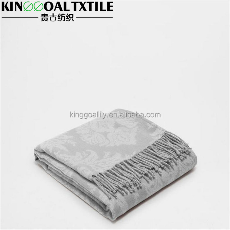 100% silk soft fashion woven solid colors Jacquard Silk Throws/Blanket