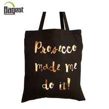 Hot foil golden stamping printed shopping tote cotton bag