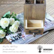 HONGDAO useful pencil holder,dark color pen holder,wooden pen storage box