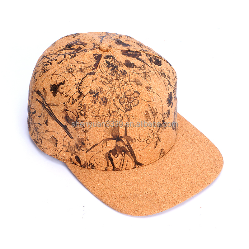 Custom waterproof water color paint cork paper baseball cap;Wholesale new style UV protection cork baseball hat for children