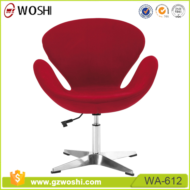 Half-round Office Chair,fabric swivel swan office Chair in red no wheels reception Leisure Chair for waiting WA612