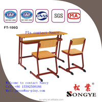 Classroom Furniture High School Double Table and Chair Attached