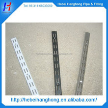 Perforated slotted angle upright metal post for bracket