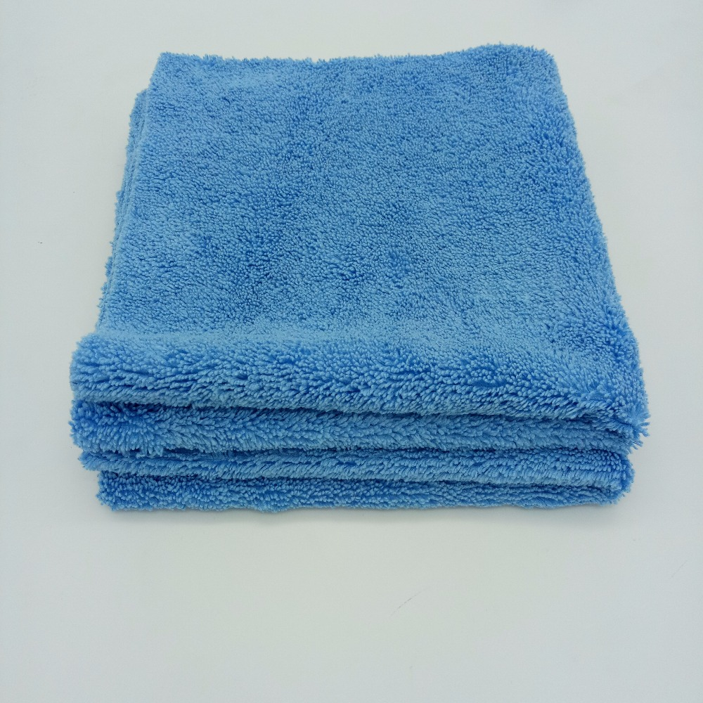 Blue Color 420 GSM Edgeless Long/short Microfiber <strong>Towel</strong> For Drying Car
