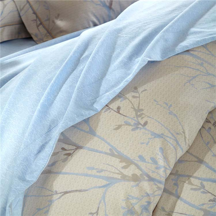 4pcs tree design cotton bed sheet luxury 100% cotton fitted bed sheet