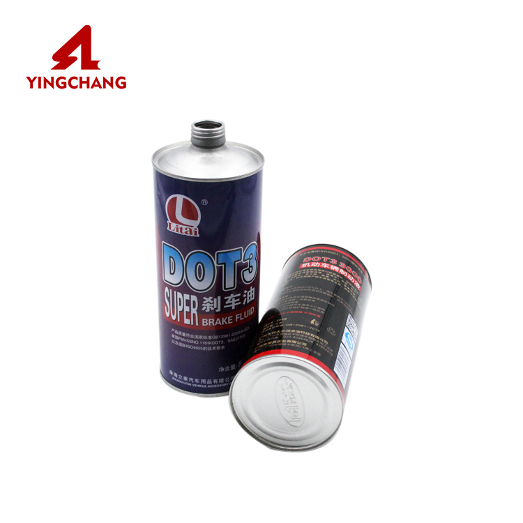 Well design with good price tinplate brake oil can brake fluid tin can empty brake oil tank