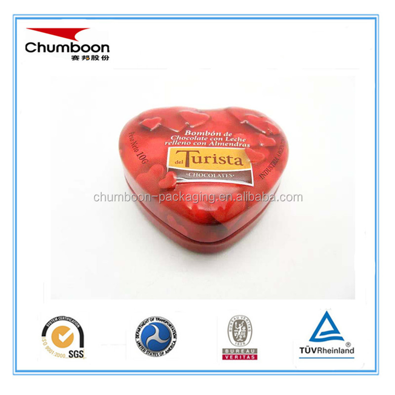 metal tinplate Heart Shaped Gift Empty Tin Can Tin Box Manufacturer