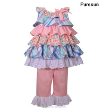 Hot sale baby girls remake sleeveless pleated big ruffles lovely top dress and pants fashion boutique clothing wear set