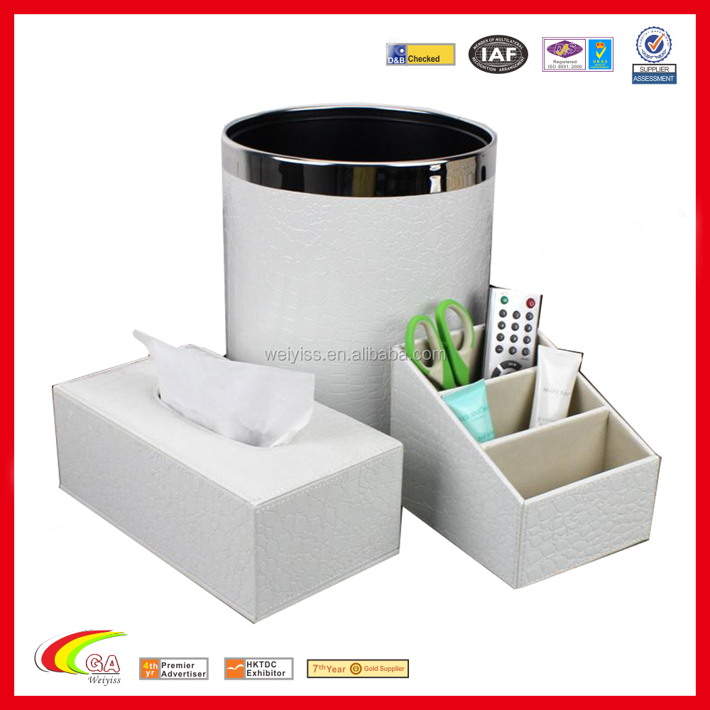 new product 2015 white round stainless steel desktop trash can napkin box pen holder sets