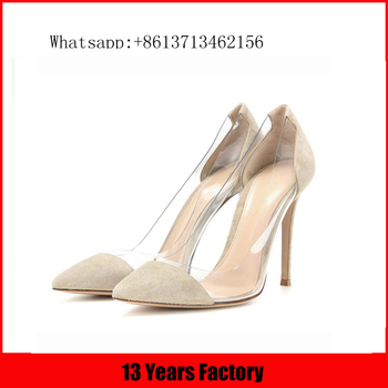 Crystal wedding shoes beige suede upper tan bottom women with brand shoes
