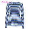 Wholesale women blouse tops blue and white longsleeve striped cheap tshirts