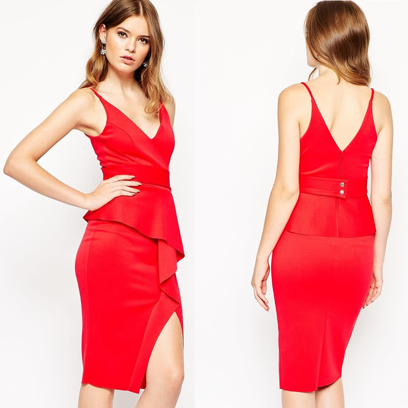 Juhai 3854 sexy evening red low cut deep v dress