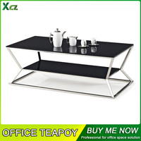2016 modern design glass top center table design/ table with substratum /coffee table --GJ-110L