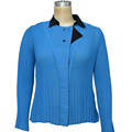 OEM 100% polyester Long Sleeve women pleated shirt