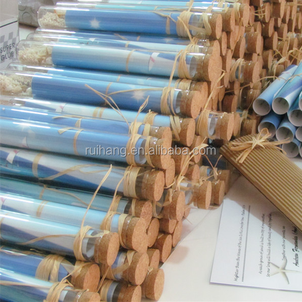 Lovely & creative beach themed bottle wedding invitation in a glass tube for wedding