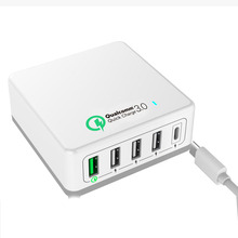 Quick Charge 3.0 charger 5USB 40W USB Type C Wall Charger 3A USB-C Charger Charging Station